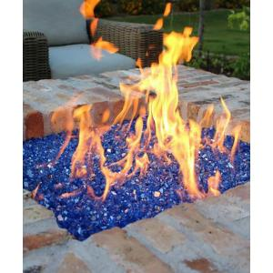 FutureWay 30LB Reflective Tempered Fire Glass 1/2 Inch, Sparkly Cobalt Blue, Propane or Natural Gas Fire Pit or Fireplace Filler